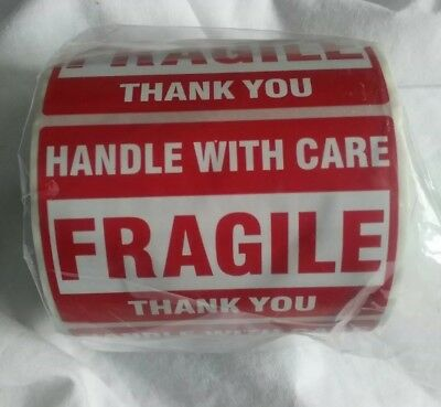 FRAGILE HANDLE WITH CARE Thank You 2x3 RED Medium Stickers Roll of 500 Labels...