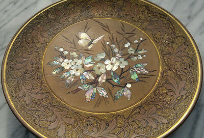 Rare 19thC Bronze Aesthetic Inlaid Mother of Pearl Decorative Plate J.P Kayser