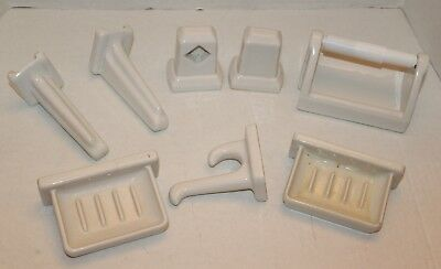Art Deco 8 PC Willette NY Stae Fast Vitreous China Bathroom Set Porcelain Soap