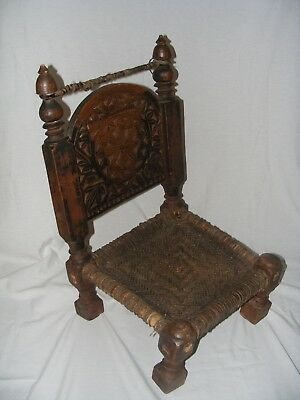 Very Unique Antique Child's Prayer Chair Hand Made Primitive.