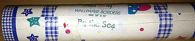 Lambs & Ivy By the Sea WALL BORDER marine life white blue pink 15 ft roll NEW