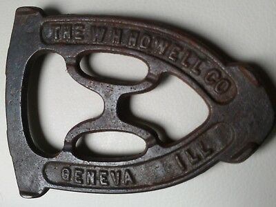 """Antique or Vintage Cast Iron Trivet """"THE W H HOWELL CO GENEVA ILL"""""""