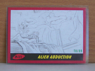 Topps Mars Attacks The Revenge pencil art card P-11 Red 78/99 Alien Abduction