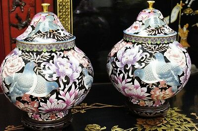"Pair of 1970s Chinese Cloisonne Art Jars Bronze Hand Made 12""H"