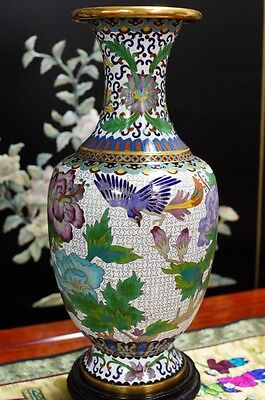 "1970s Chinese Cloisonne Art Vase Bronze Hand Made 13""H"