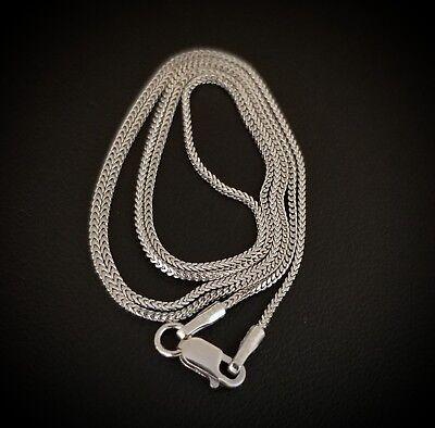 "925 Sterling Silver Thin Foxtail Franco Box 18"" Chain Necklace"