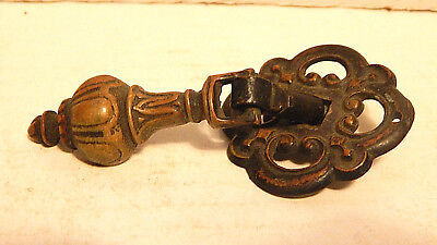 One Vintage Victorian Pendant Type Brass Drawer Pull Furniture Salvage