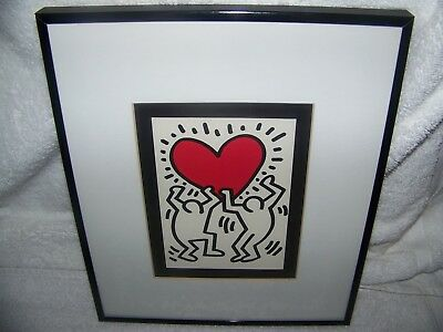 Keith Haring(1958-1990)Pop Artist, Untitled Heart, framed matted, inscribed 1993