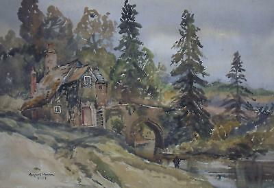 Millhouse on a River Cornish Landscape Watercolour Margaret Morcom 1961