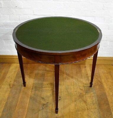 Antique carved mahogany demi lune console - fold out card and games table