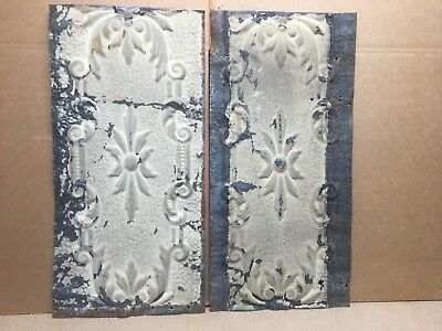 "2pc Lot of 24"" by 12"" Antique Ceiling Tin Vintage Reclaimed Salvage Art Craft"