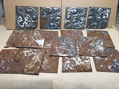 """16pc Craft Lot 8"""" by 8"""" Antique Ceiling Tin Metal Reclaimed Salvage Art"""