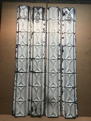 "4pc Lot of 48"" by 6.5"" Antique Ceiling Tin Vintage Reclaimed Salvage Art Craft"
