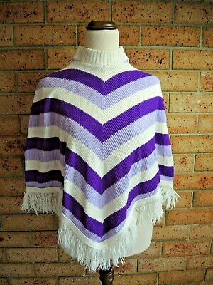 Cashmilon Poncho childs purple Vintage Retro Chevron stripe fringed from1970's