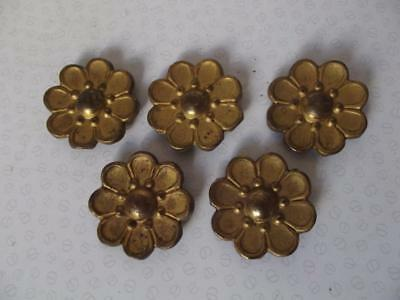 1 antique French rococo gilt toleware picture hook cover Large flower rosette