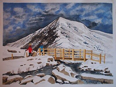 """Carnedd Welsh mountains from Lake Idwal North Wales Painting 18"""" x 14"""""""