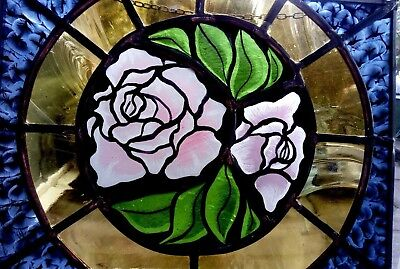 Victorian Style Roses - Stained Glass Hand-Painted - 32 x22 with Chain