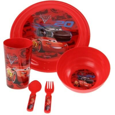 Kids 5pc Disney Cars 3 Children Meal Time Plate Bowl Cup Spoon Fork Set