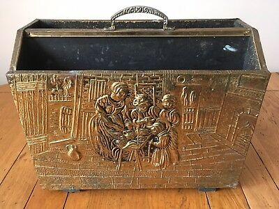 Vintage Embossed Brass Fireside Magazine Rack Victorian Home Country Cottage
