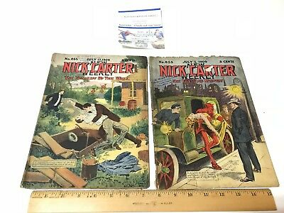 2 Vintage Nick Carter Weekly NO. 655- 653 Novel Magazines Taxi & Well Tragedy