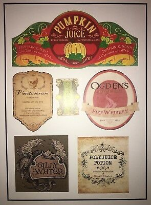 LABELS ONLY LOT 6 FOR PUMPKIN JUICE BOTTLES HARRY POTTER HALLOWEEN PARTY PROP