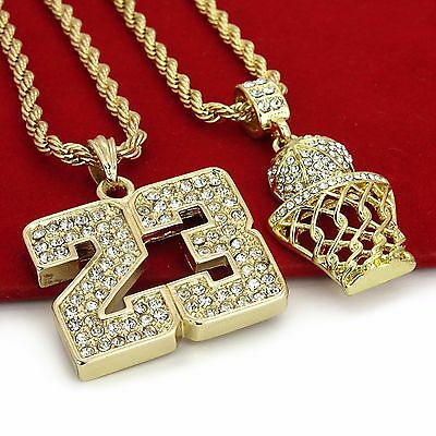 """14K Gold Plated Hip Hop Iced Out Basketball & 23 Pendant w/ 4mm 24"""" Rope Chain"""