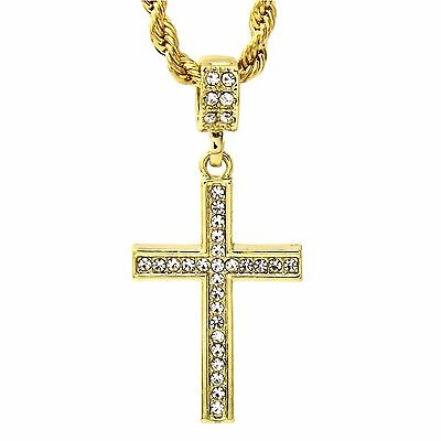 """Men's 14k Gold Plated Cz Lined Cross Pendant With 24"""" inches Rope Necklace Chain"""