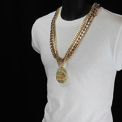 "Men Hip Hop 14k Gold Plated Last Supper CZ Pendant Two 30"" Cuban Chain"