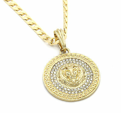 013b5f23f3a0c MENS MEDALLION PATERN Lion Gold Plated 24