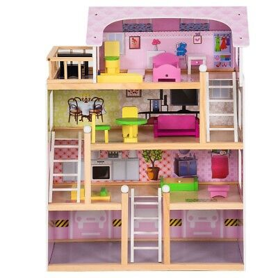 Kids Girls Wood Dollhouse Pretend Play Toy House Cottage Playset with Furniture
