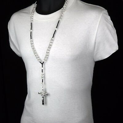 Men Hip Hop 8mm CLEAR Bead Silver Cz Rosary Jesus Cross Religious Necklace Chain