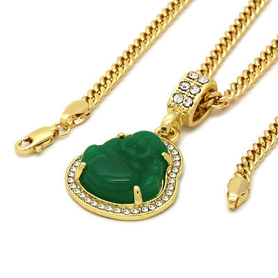 "14K Gold Plated  Green Jade Buddha  Pendant w/ 3mm Cuban Chain (24"", 27"",  30"" )"