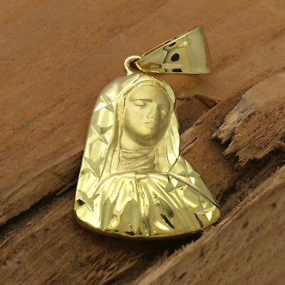 """Mens 18k Gold Plated  Virgin Mary /Star   Pendant 5mm 24"""" Cuban Necklace Chain"""