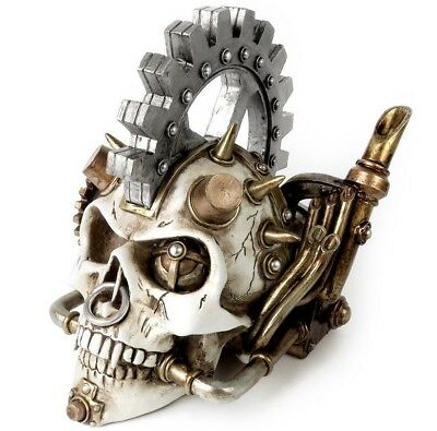 Steamhead Skull Punk Spikes Steampunk Gear Resin Statue Decor V73 Alchemy Gothic