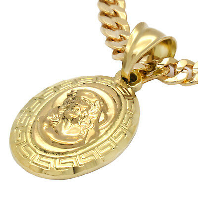 """Mens 18k Gold Plated Mini Oval JESUS Pendant 5mm 24"""" Cuban Necklace Chain"""