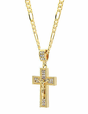 "Mens 14k Gold Plated Cz Jesus Cross Pendant Hip-Hop 24"" Figaro Necklace Chain SG"