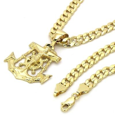 "Mens 14k Gold Plated Jesus Anchor Pendant 6mm 30"" inches Cuban Necklace Chain"
