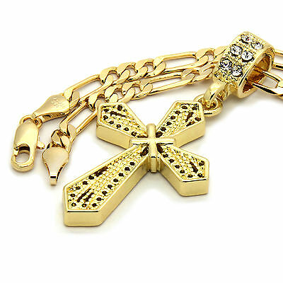 "Mens 14k Gold Plated X Cross Pendant With 24"" inches Figaro Chain Necklace"