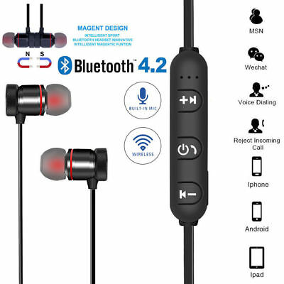 Sports Bluetooth 4.2 Stereo Wireless Earphones In-Ear Headphones iPhone Android