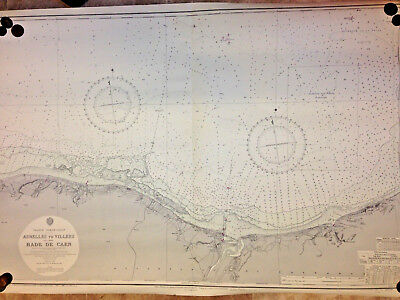 ENGLISH ADMIRALTY French MARITIME CHART / ASNELLES To VILLERS Inc; RADE DE CAEN