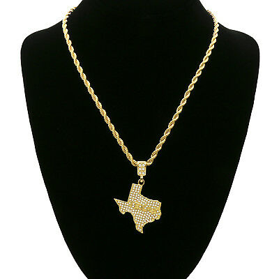 """14k Gold Plated Custom Iced Out Cz  TEXAS   Hip Hop Pendant 24"""" Rope Chain"""