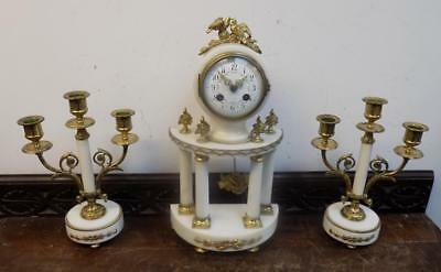 french white marble and ormolu garniture c1900s