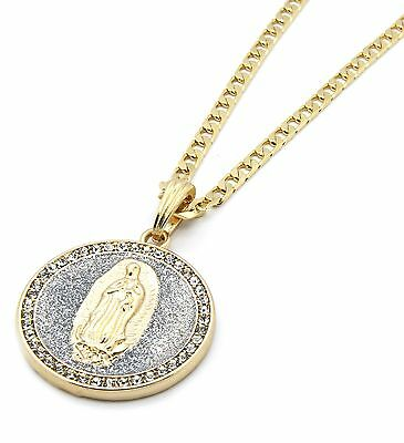 Mens Gold Plated Silv Stardust Round Guadalupe Pendant 5mm Cuban Necklace Chain