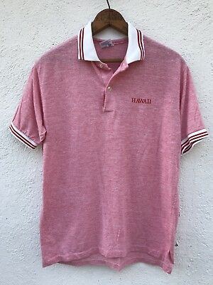Vintage 90s Hawaii Polo Shirt L/XL Red Short Sleeve Mens Striped Collar