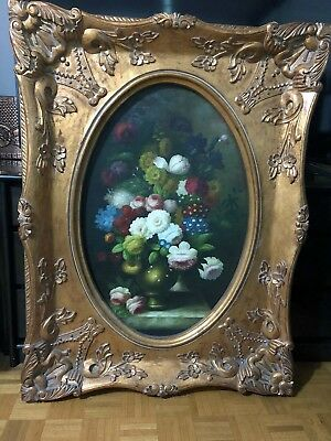 19th CENTURY LARGE ORNATE CARVED GILT WOOD PAINTING MIRROR FRAME  38 X 50  L001