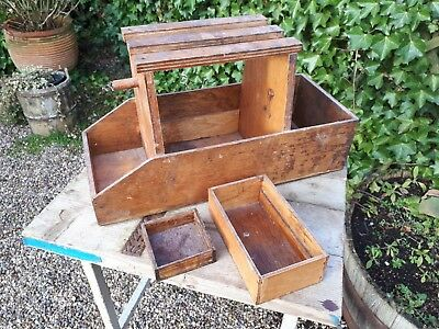 Vintage Wooden Artists Toolbox Seat with two internal trays