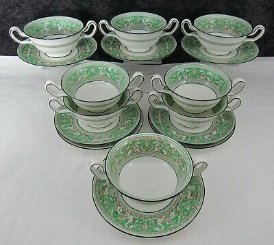 (8) Vintage Wedgwood Green Florentine Bone China Cream Soup Bowls & Saucers