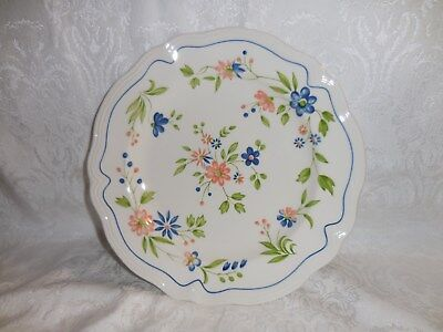 """Sears Country French Ironstone 10.5"""" Dinner Plates Peach Blue Flowers Green"""