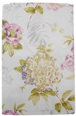 Hydrangeas and Wild Roses Vinyl Flannel Back Tablecloth White 60 inch Round