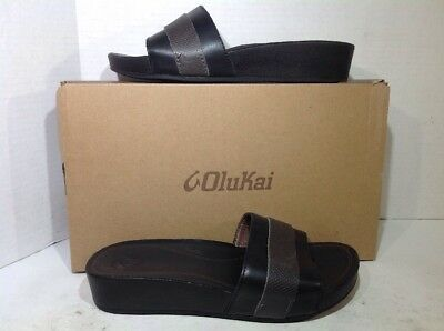 139de2bc70f5ae Olukai Womens Size 7 Ola Huna Black Leather Casual Flip Flops Sandals ZU-549